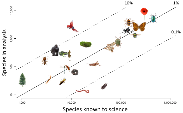 Taxonomic representativeness of predicts data
